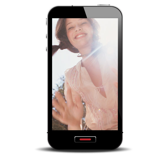 Smart Phone con la ragazza sorridente