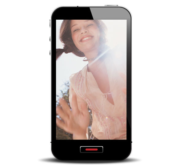 Smart Phone with Smiling Girl
