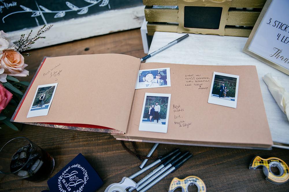 polaroid instant photos inserted into slip in album