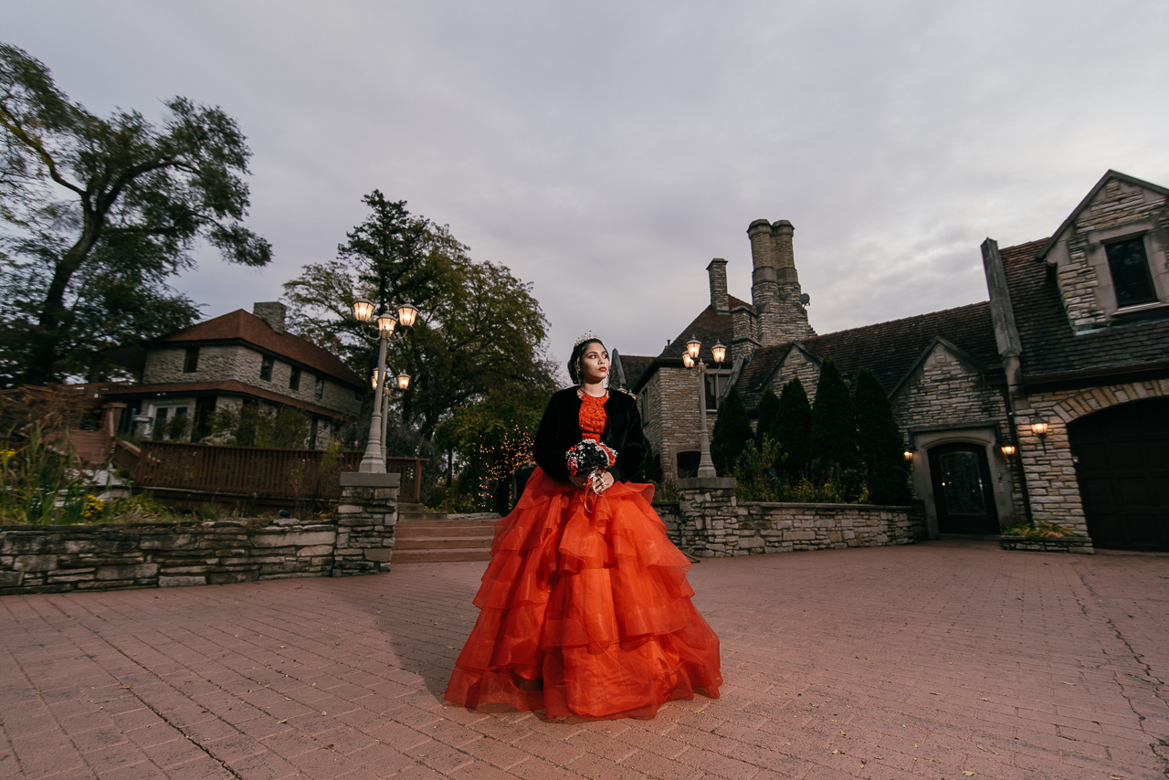 quinceanera in her red dress