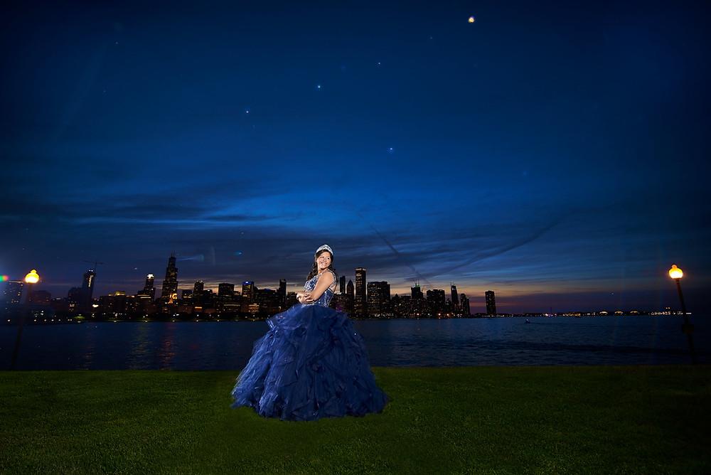 Amazing quinceanera photo chicago at night museum campus