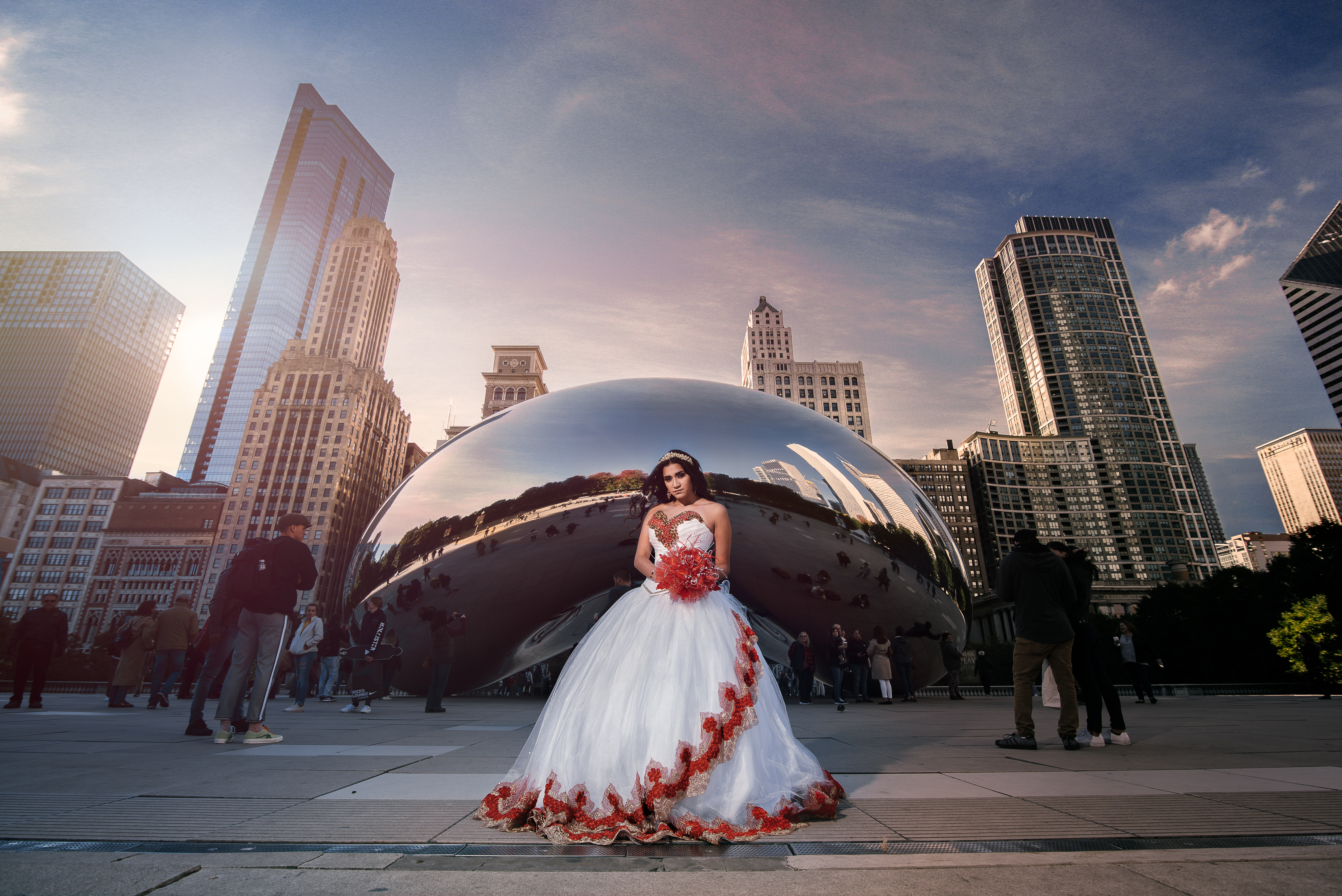 quinceanera photo posing in the bean