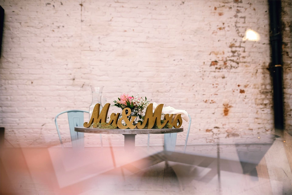 mr and mrs table setup at The Joinery, an event venue in Chicago