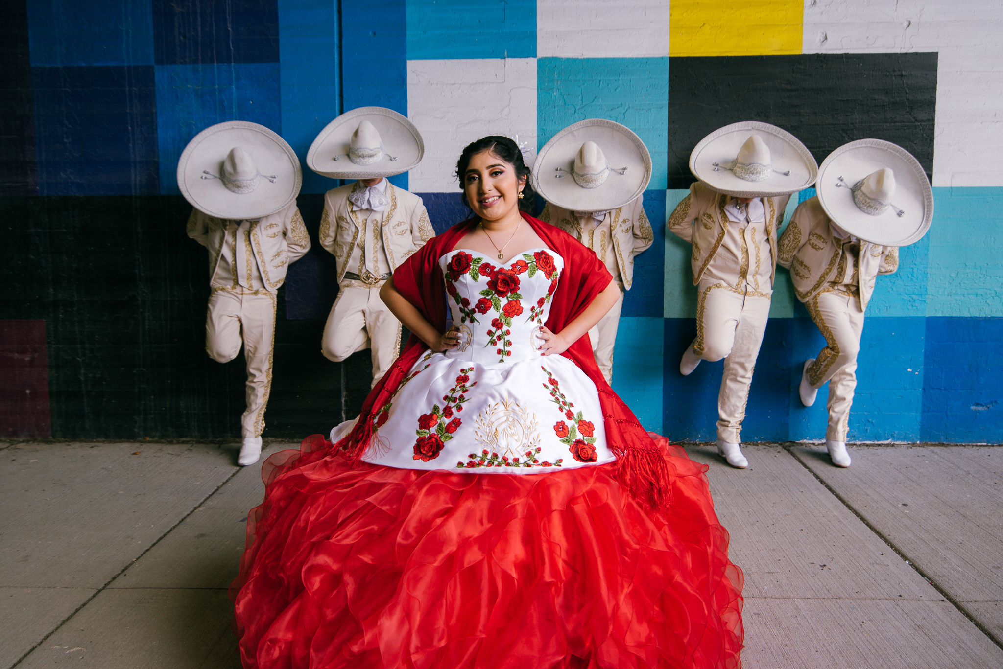 charros and quinceanera photo in chicago mural