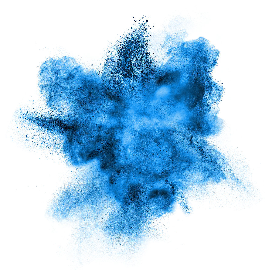 Blue powder explosion isolated on white