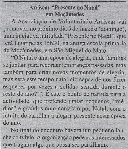 """Arriscar """"Presente no Natal"""" em Moçâmedes"""