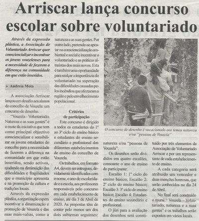 Arriscar lança concurso escolar sobre voluntariado