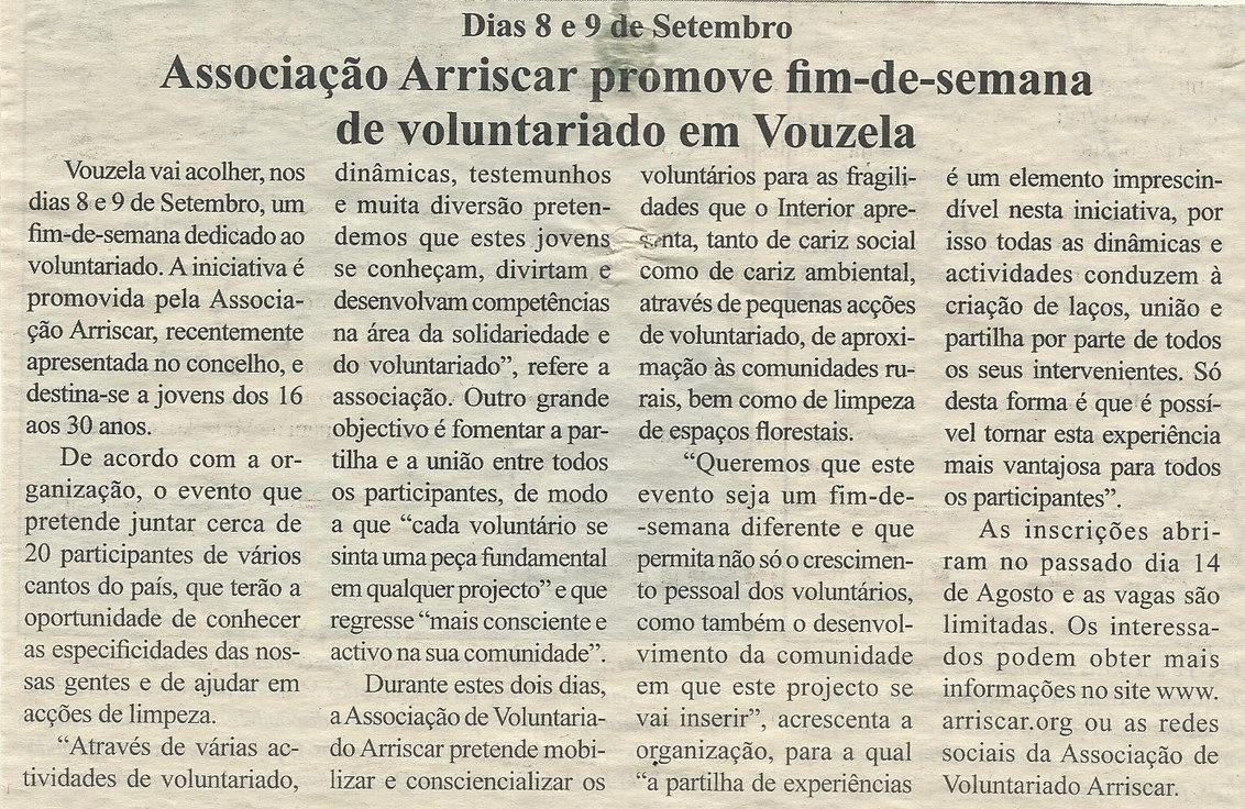Associação Arriscar promove fim-de-semana de voluntariado em Vouzela