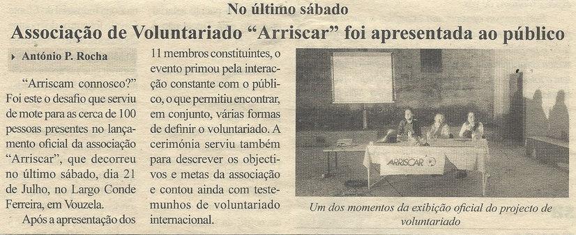 """Associação de Voluntariado """"Arriscar"""" foi apresentada ao público"""