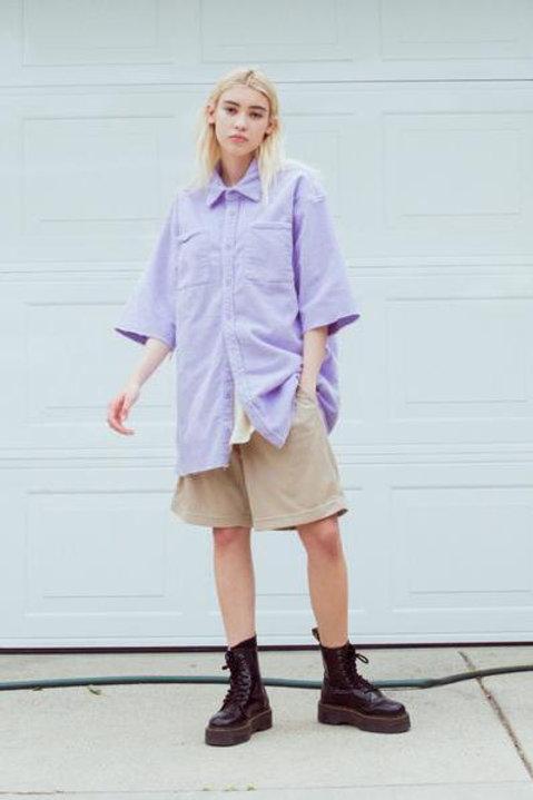 Drew Corduroy SS Shirt - Lavender - by Drew Hype