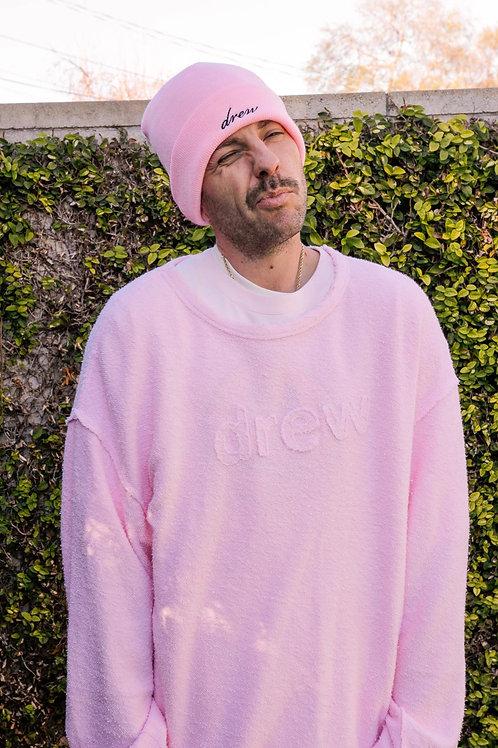 """Secret"" Drew Appliqué Raw Edge LS Tee - Light Pink - by Drew Hype"