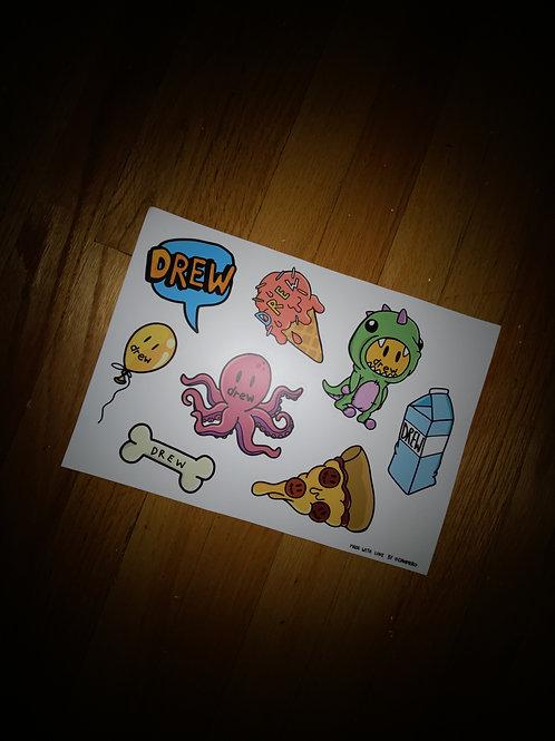 Drew House Sticker Sheet - by Drew Hype