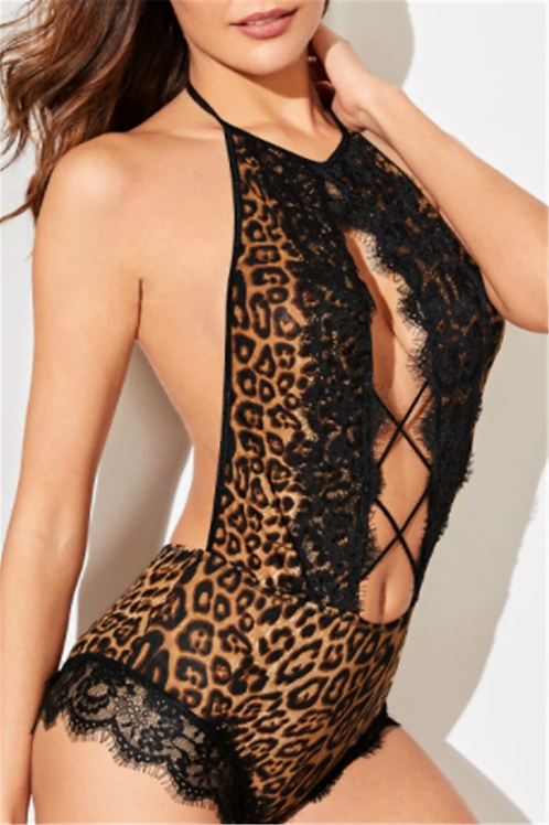 Sexy Leopard Lace Teddy