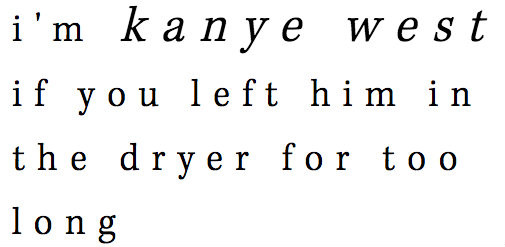 i'm kanye west if you left him in the dryer for too long
