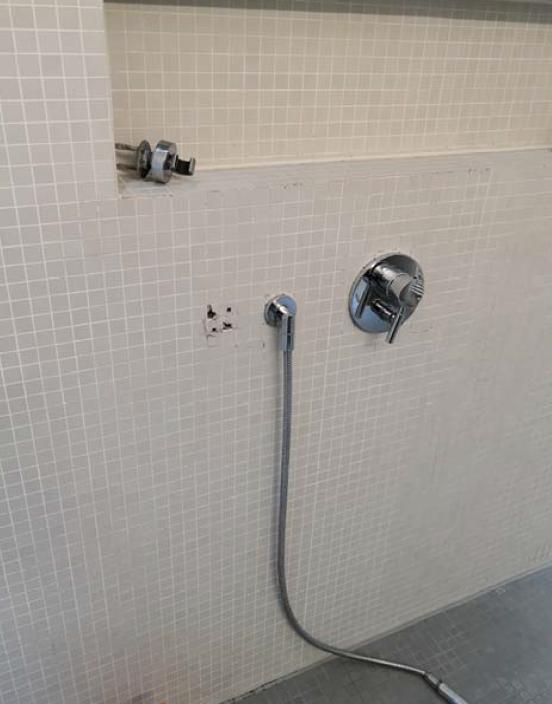Trennwand des Badezimmers zum Abstellraum: an der Befestigungsstelle der Handbrause lagen offene Stellen an den Dübellöchern vor.