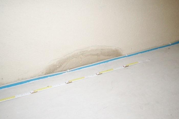 An der Kellerwand stieg die Feuchtigkeit vom Sockel her nach oben