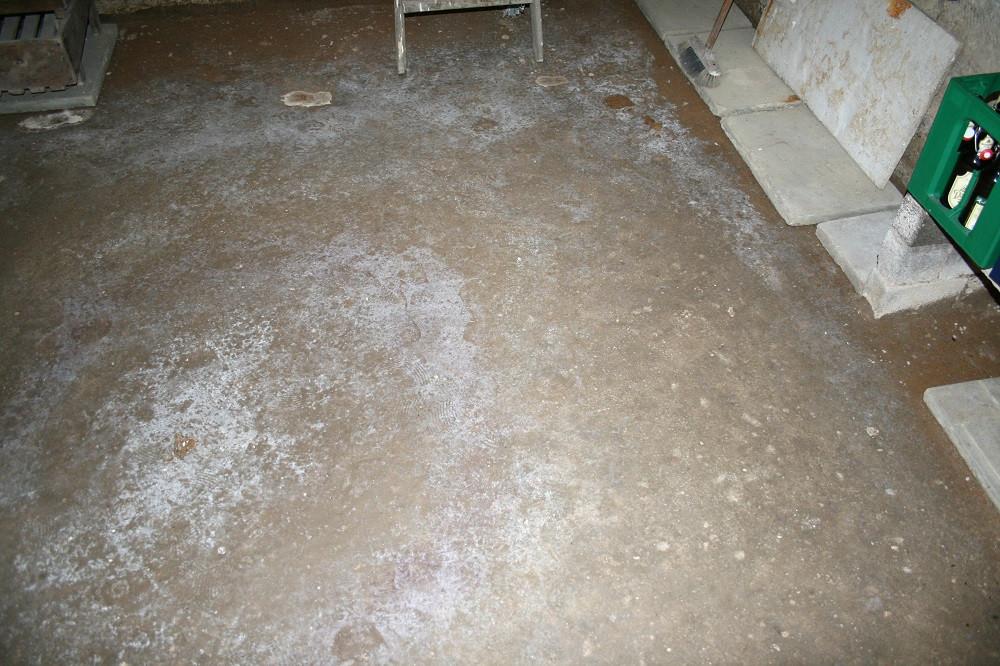 Nicht abgedichtete Bodenplatte führt zu Feuchteeintritten von unten her.