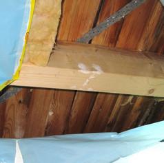 Feuchteschaden in einem Holzdach