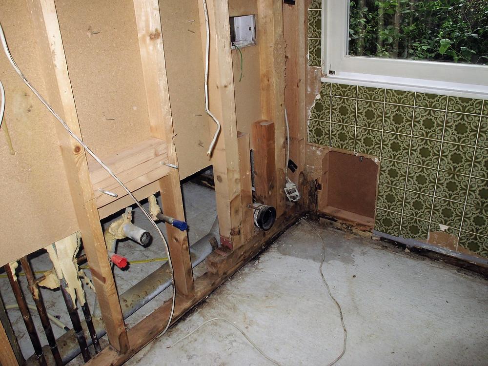 Holzzerstörende Pilzbildungen an der Wandkonstruktion, ausgehend vom Badezimmer.