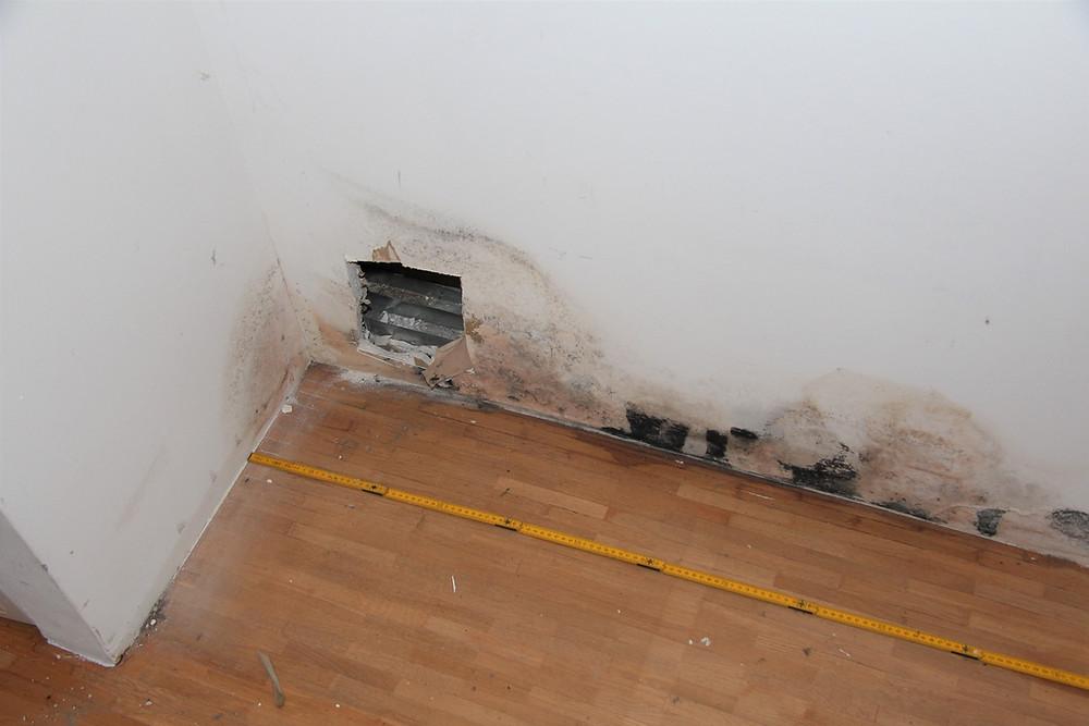 Abstellraum, Trennwand zum Badezimmer;  Feuchteerscheinungen und Öffnungsstelle 1 im Sockelbereich.
