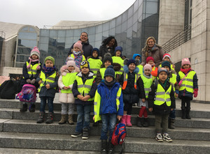 Kindergartners visiting the New Slovak National Theater and learning about opera