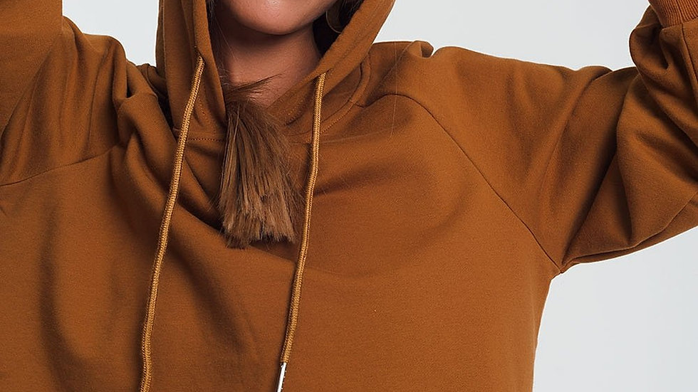 Crop Hoodie With v Neck in Camel
