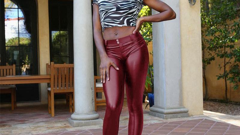 Leather Pant - Maroon