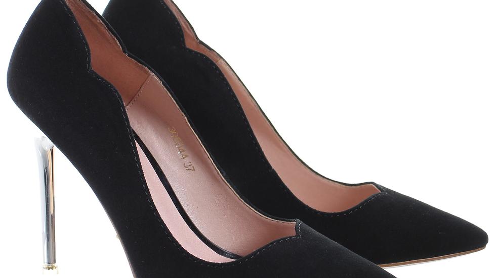 Chrome Heel Dress Pumps (Black)