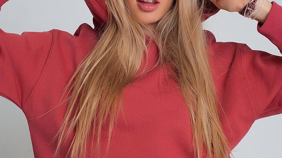 Hooded Sweatshirt in Maroon