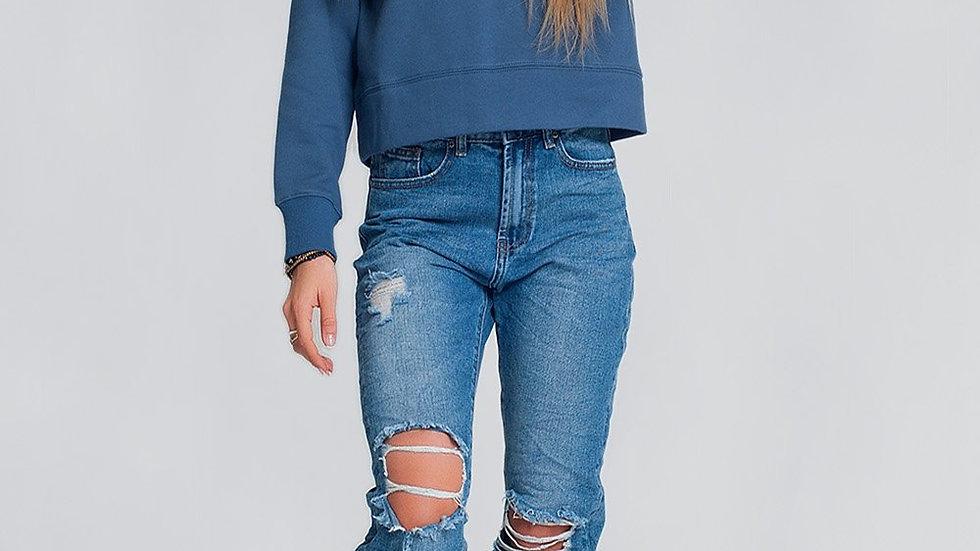 Hooded Sweatshirt in Blue