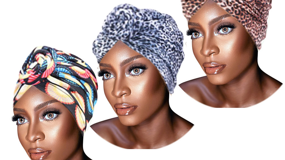3 Pack Set of PRE-TIED Women Headwrap