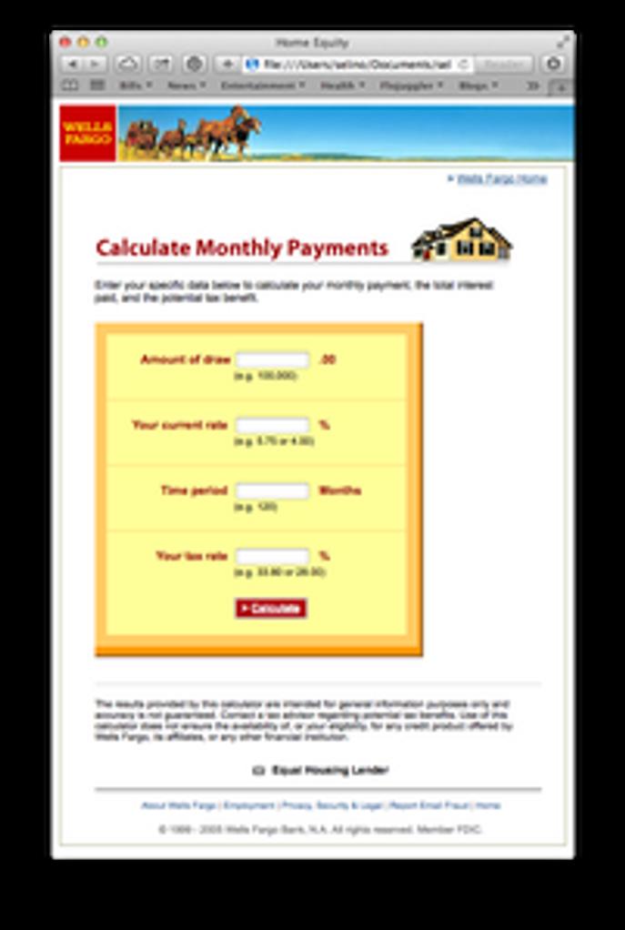 WellsFargo Home Mortgage Calculator