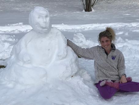 Big Buddha meets Williams Buddha thanks to the help of little and big yogi helpers!   Snowga!!!!!!