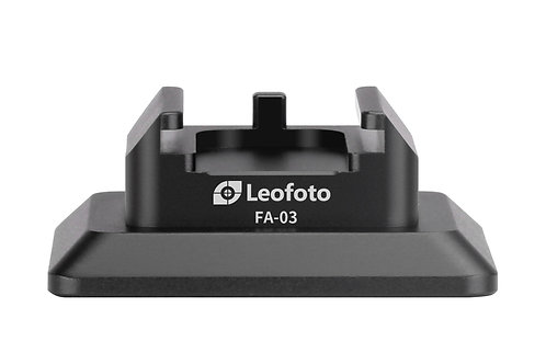 """Leofoto FA-03 Arca Swiss Mounting to Cold Shoe Adapter with 1/4"""" Mounting Hole"""