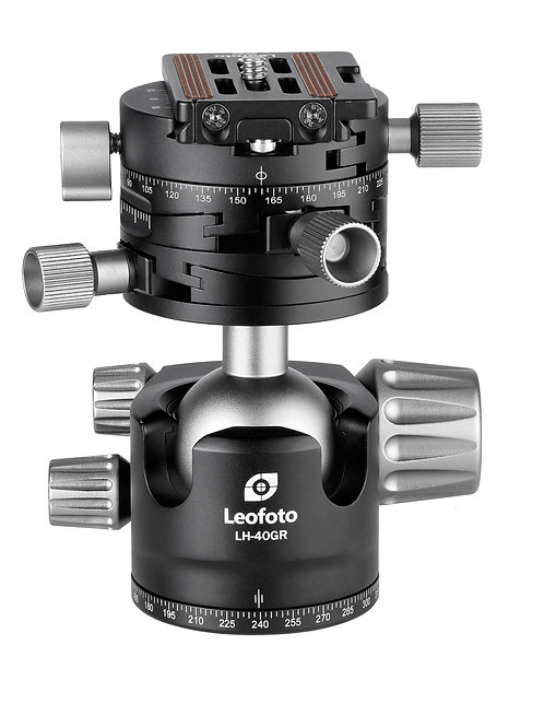 Leofoto LH-40GR 40mm Ball Head with +/-10 deg, Dual Axis Geared Panning Clamp