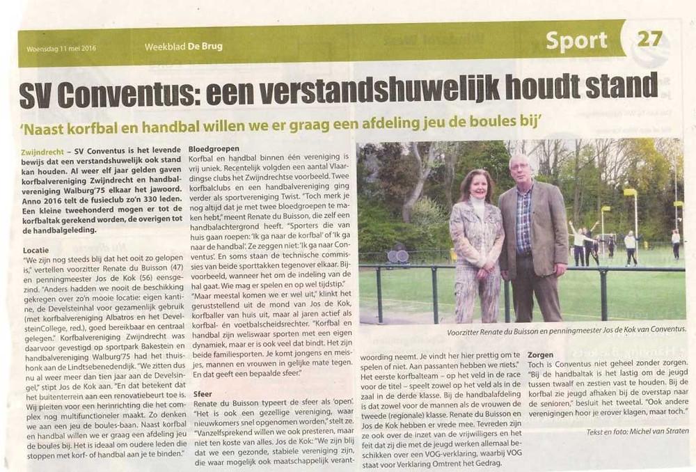 Artikel weekblad De Brug over SV Conventus