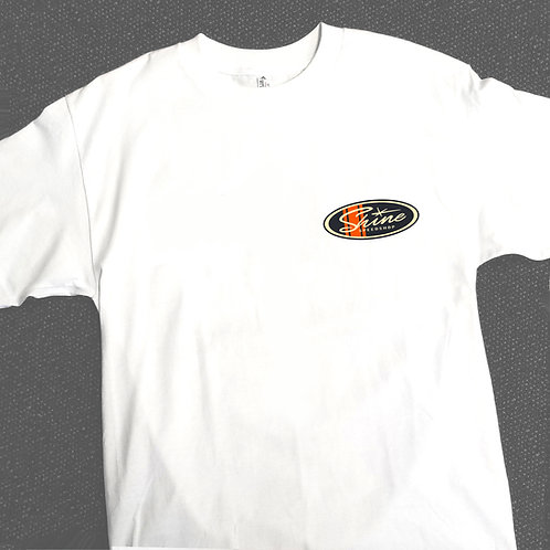 White racing stripe logo back print T