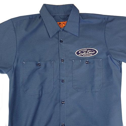 Shine Blue Collared Short Sleeve Shirt