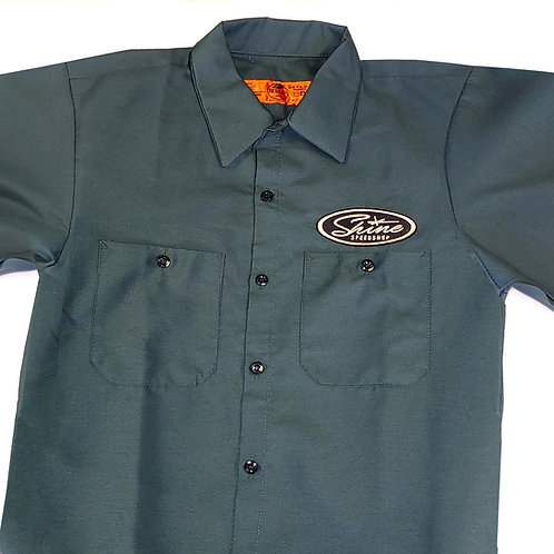 Shine Green Collared Short Sleeve Shirt