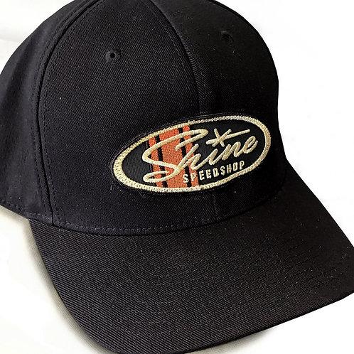 Racing stripe SHINE black velcro back Hat
