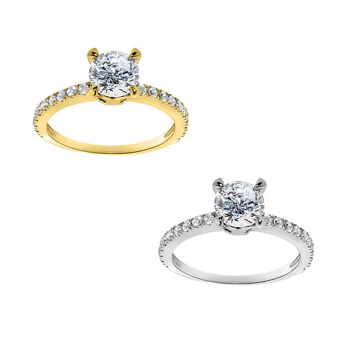 14k Yellow or White Gold 1 1/5ct TGW Round-cut Diamonette Engagement Ring