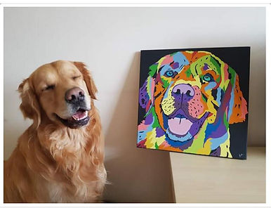 Boomer and his painting.jpg