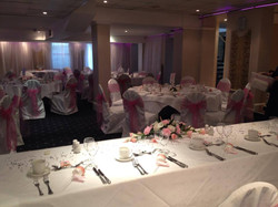 Bright pink sashes with lycra covers