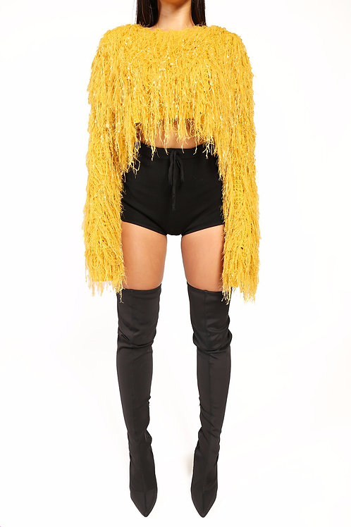 Feathers and Fringes Sweater Yellow
