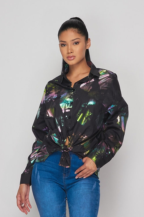 Painted Gem Button Up