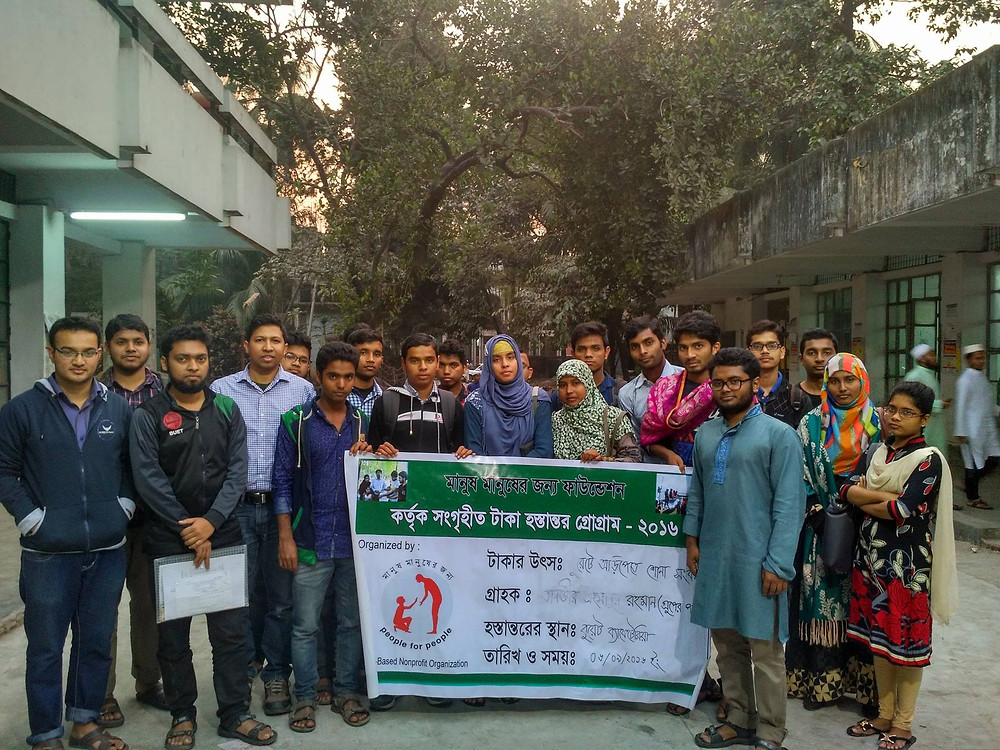 Munir at BUET campus with volunteers and scholarship recipients in Dhaka