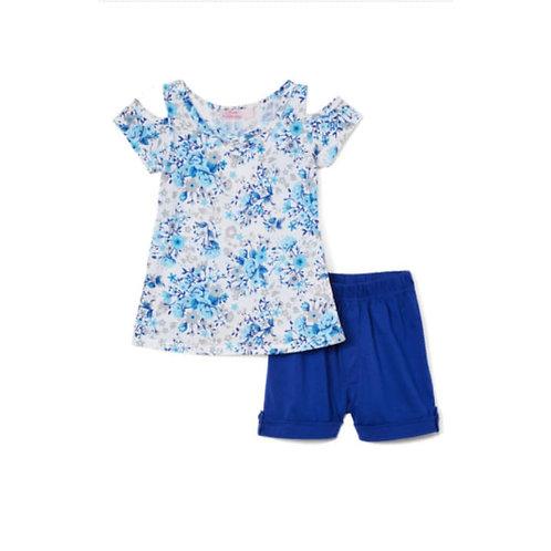 Girls´2-pieces floral blue set.
