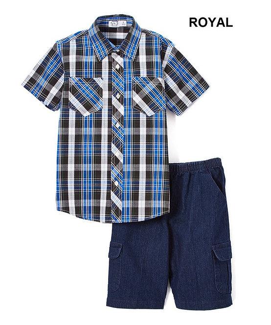 Boys' Plaid Short-Sleeve Set with Denim Cargo Shorts
