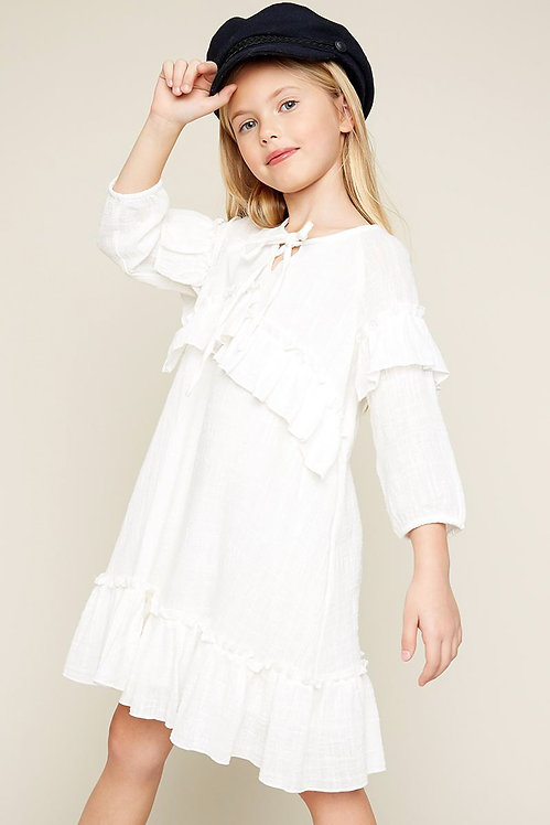 5831Asymmetrical Ruffled Tunic Dress
