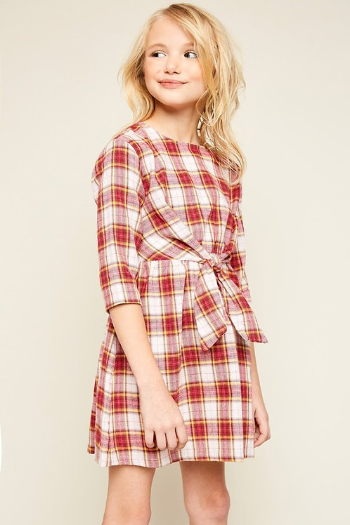 4142 Flannel Dress With Front Tie Detail